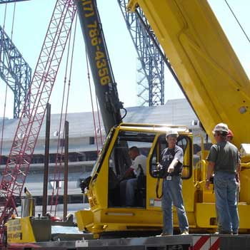 David Engelking on job site at Lucas Oil Stadium, July 2007.